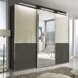 Schiebetüren Kleiderschrank in Creme Weiß und Braun Spiegel